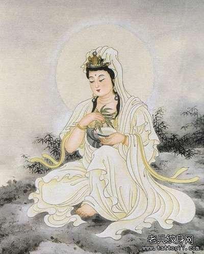 纹身 武汉/湖边静坐观音纹身图案