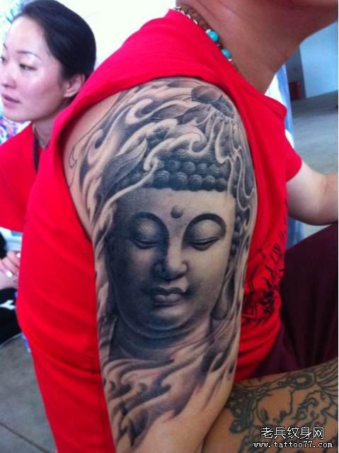 纹身 武汉/手臂一款观音佛像纹身图案