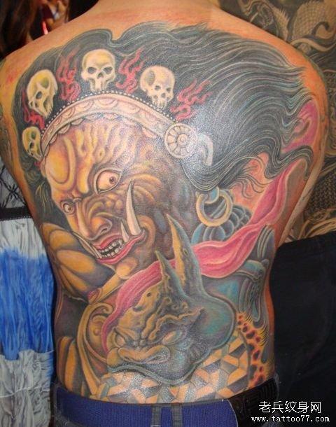 霸气的满背大黑天菩萨纹身图案