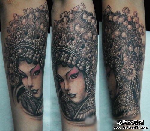 手臂好看的美女花旦纹身图案图片
