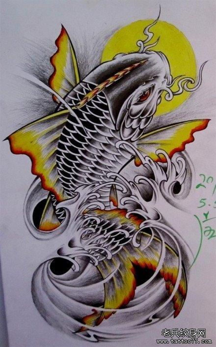 一款漂亮的彩色鲤鱼纹身手稿