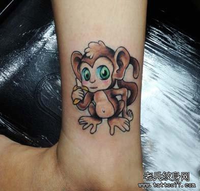 通小猴子纹身图案