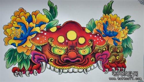 漂亮的彩色唐狮与牡丹纹身图案
