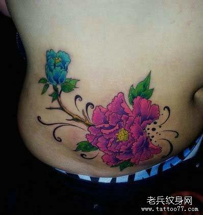 色牡丹花纹身图案