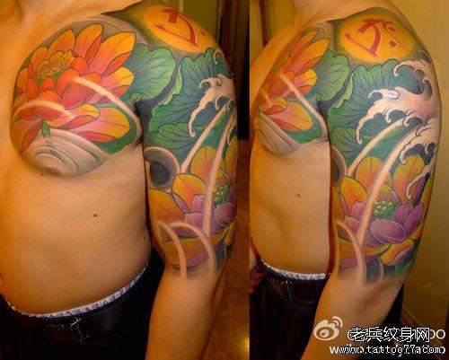 中国工笔风格的好看唯美的半胛荷花莲花梵文纹身图案作品
