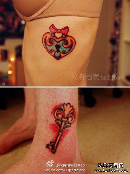 一款时尚好看的情侣爱心锁钥匙纹身图案