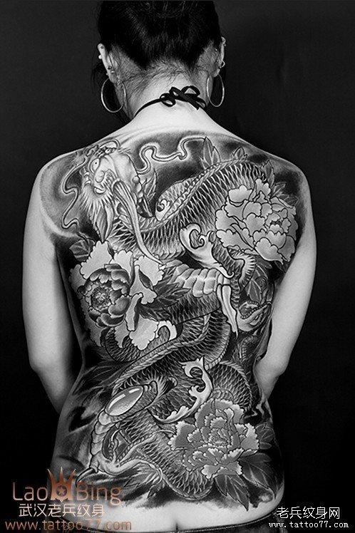 老兵2012年满背红色战马 关公纹身图案 作品第
