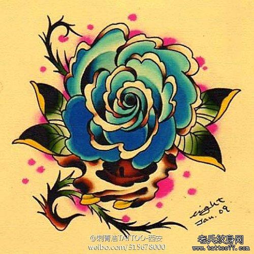 一款漂亮的欧美风格的玫瑰花纹身手稿