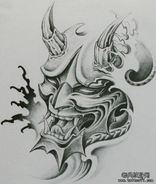 为上海纹身爱好者提供一款黑白般若纹身手稿