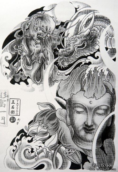为北京纹身爱好者提供一款半胛佛头纹身手稿