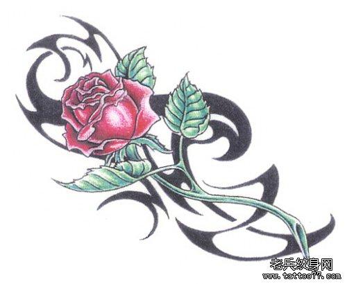 玫瑰花与图腾藤蔓纹身手稿为北京纹身爱好者提供