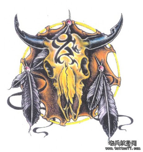 经典的羊头骷髅纹身手稿为北京纹身爱好者提供