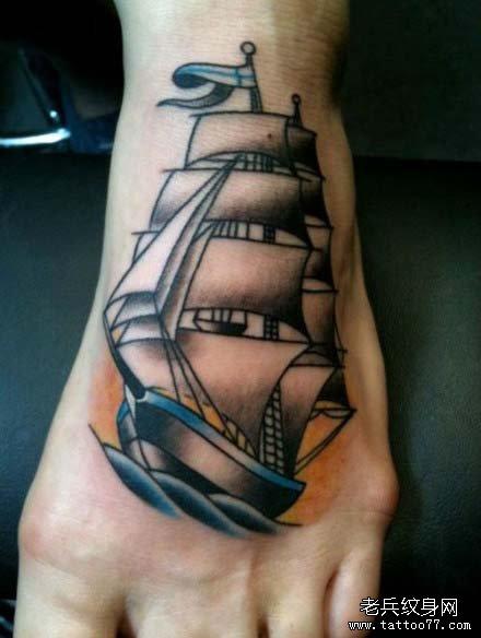 帆船经典的图片纹身图案脚背艺术设计调剂图片