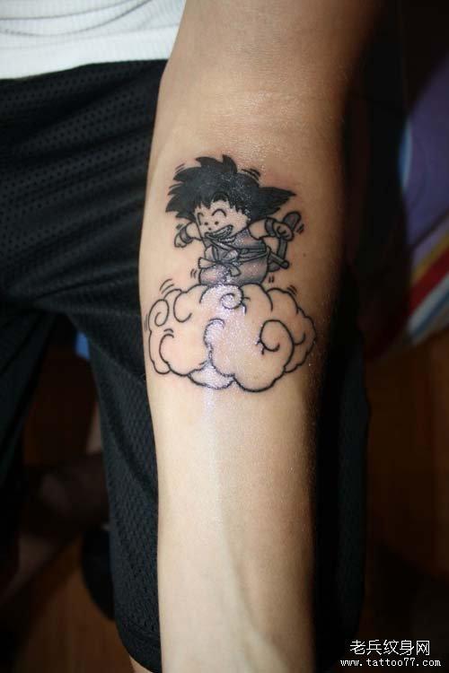 手臂可爱的卡通七龙珠孙悟空纹身图案