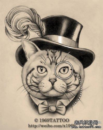 一款时尚唯美的猫咪纹身手稿