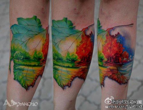 树叶与风景纹身图案 申明:此图案是为了提供给纹身爱好者欣赏,图片均