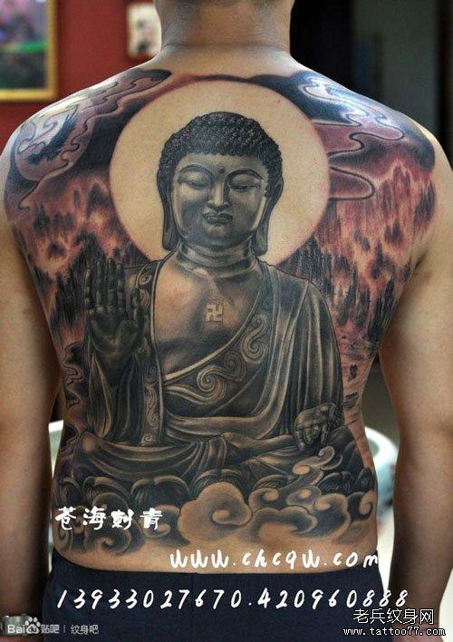 男生背部超酷的满背如来佛祖纹身图案