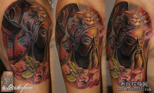 男人手臂超酷的欧美彩色关公纹身图案