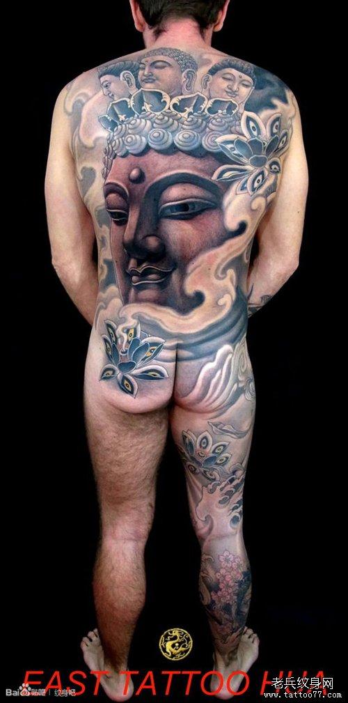 一款男人背部超酷的满背佛头纹身图案图片