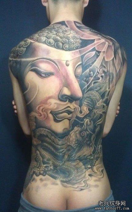 男生背部超酷的满背佛头纹身图案图片