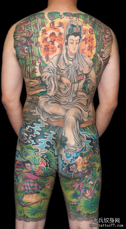 中国风 男人背部满背观音纹身图案图片