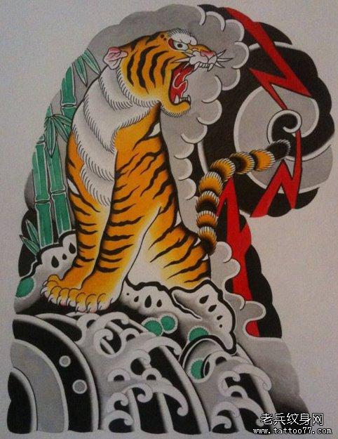 一款经典的老传统老虎纹身手稿图片