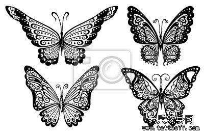一款时尚精美的图腾蝴蝶纹身手稿       申明:此图案