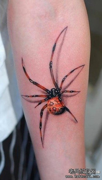男生手臂时尚帅气的蜘蛛纹身图案
