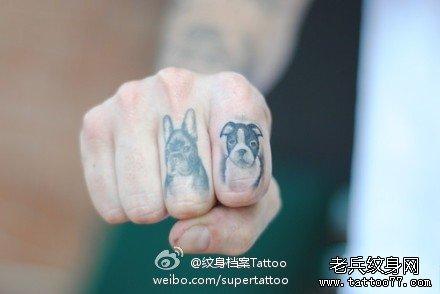 手指可爱的小狗纹身图案