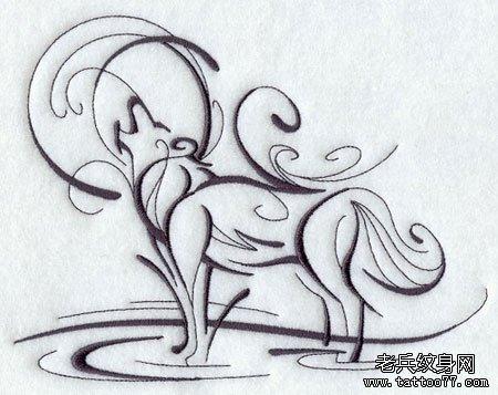 经典潮流的图腾孤狼望月纹身图案