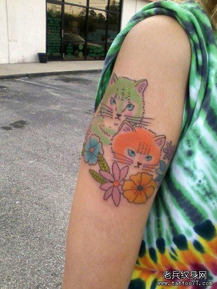 女生手臂呆呆的可爱的猫咪纹身图案