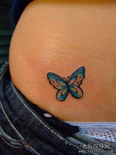 美女腹部潮流漂亮的桃花纹身图案 分享        武汉老兵纹身