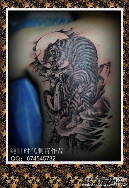 男生后背经典的黑灰上山虎纹身图案