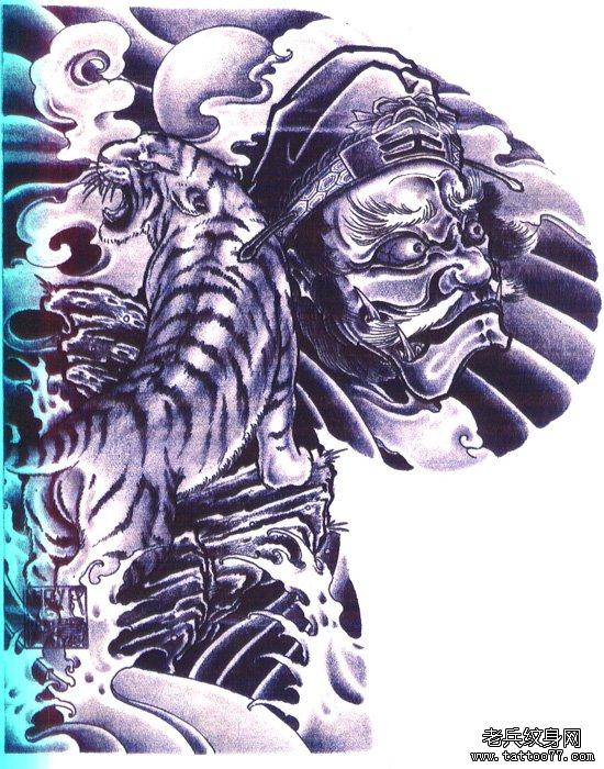 纹身吧推荐的男人王者风范之半胛钟馗老虎纹身手稿图案