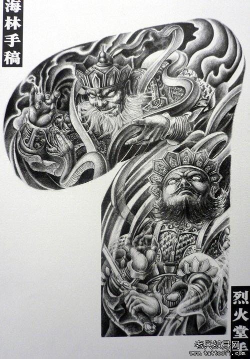 中国印之震撼超酷的半胛四大天王纹身手稿图案图片展示