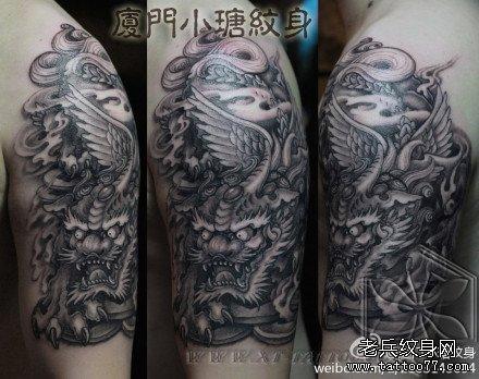 手臂潮流经典的招财貔貅纹身图案