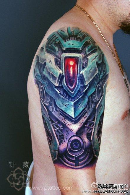 手臂超帅的彩色机械臂纹身图案