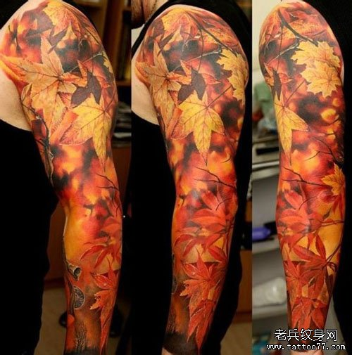 漂亮精美一款花臂枫叶纹身图案