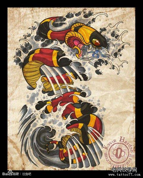 潮流经典的欧美风格半胛蛇纹身图案