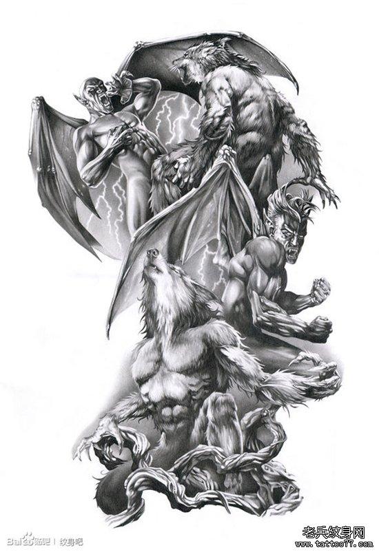 超酷霸气的狼人与恶魔纹身手稿