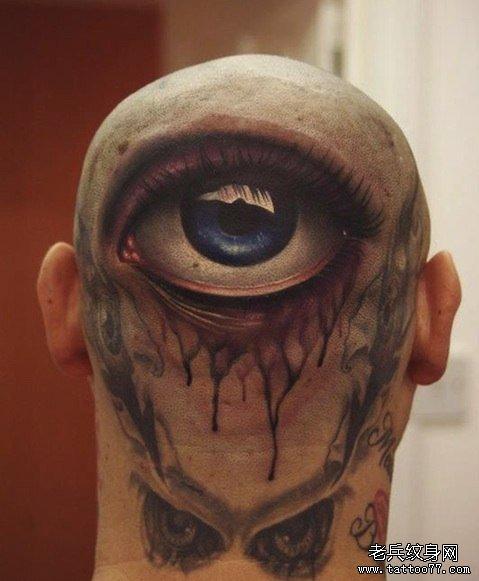 头部超酷经典的一款眼睛纹身图案
