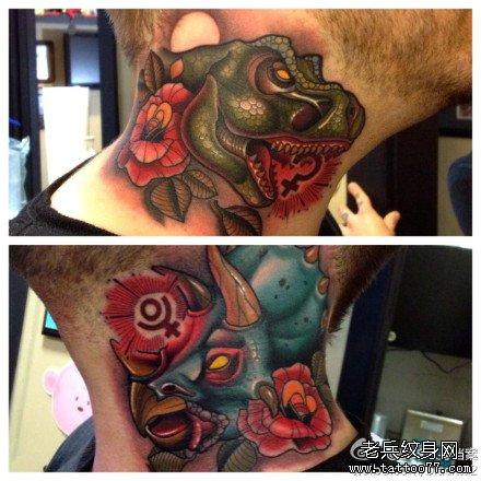 男生脖子处超酷经典的恐龙纹身图案