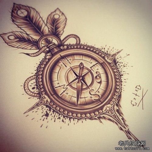 com                    一款潮流唯美的怀表与玫瑰花纹身手稿 分享