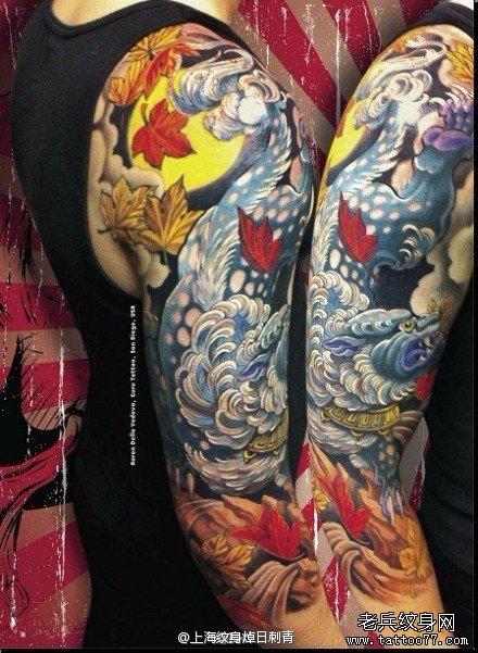 手臂时尚超酷的唐狮子纹身图案