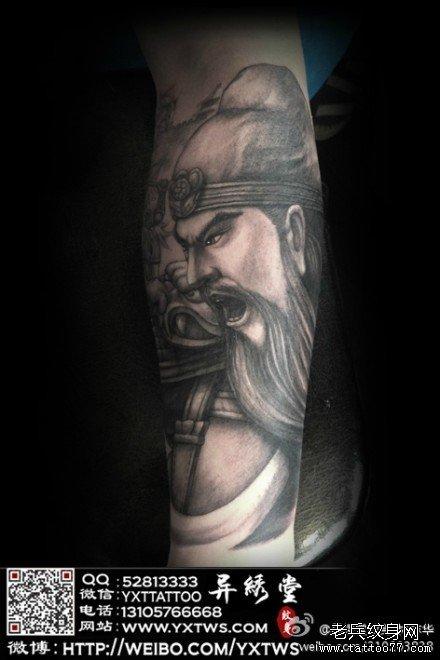 黑灰关公纹身图案