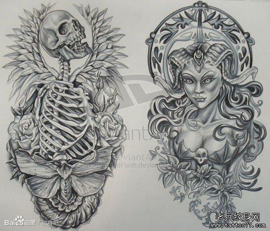 一款时尚经典的骷髅与恶魔美女纹身手稿
