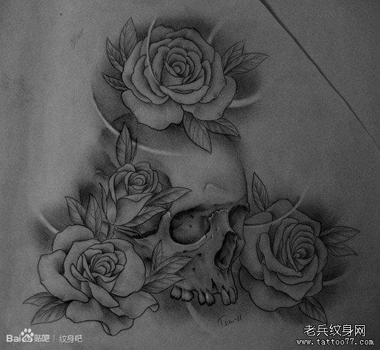 髅与玫瑰纹身图案图片