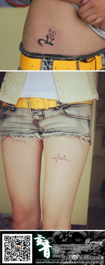 美女腹部可爱的小猫咪纹身图案