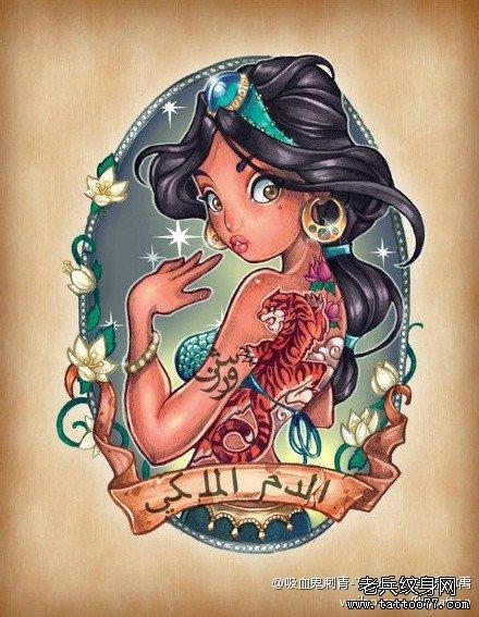 一款潮流可爱的阿拉丁神灯小公主纹身手稿
