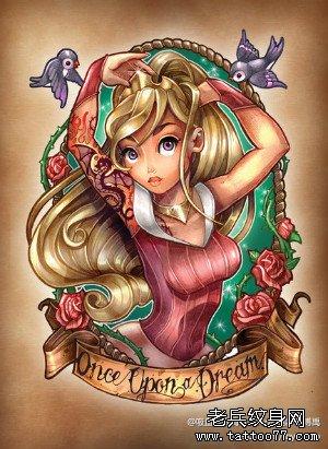 一款时尚可爱的卡通美女纹身图案
